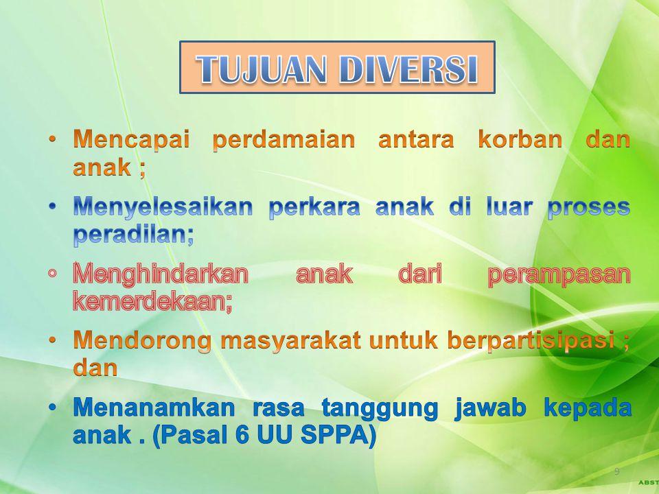 Pasal 8 (1) Proses Diversi dilakukan melalui musyawarah dengan melibatkan Anak dan orang tua/Walinya, korban dan/atau orang tua/Walinya, Pembimbing Ke