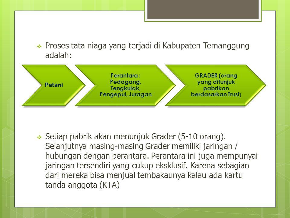  Proses tata niaga yang terjadi di Kabupaten Temanggung adalah:  Setiap pabrik akan menunjuk Grader (5-10 orang). Selanjutnya masing-masing Grader m