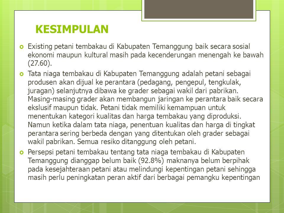 KESIMPULAN  Existing petani tembakau di Kabupaten Temanggung baik secara sosial ekonomi maupun kultural masih pada kecenderungan menengah ke bawah (2