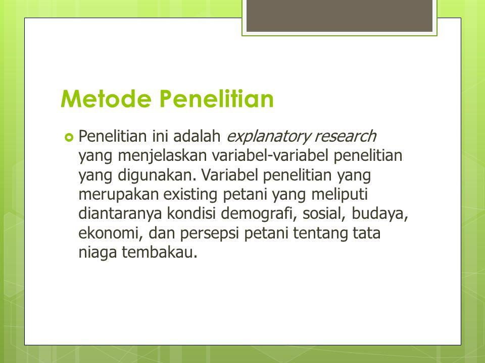 Metode Penelitian  Penelitian ini adalah explanatory research yang menjelaskan variabel-variabel penelitian yang digunakan. Variabel penelitian yang