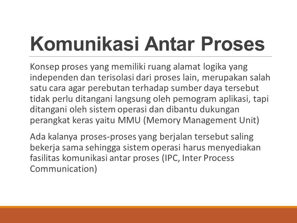 Komunikasi Antar Proses Konsep proses yang memiliki ruang alamat logika yang independen dan terisolasi dari proses lain, merupakan salah satu cara aga
