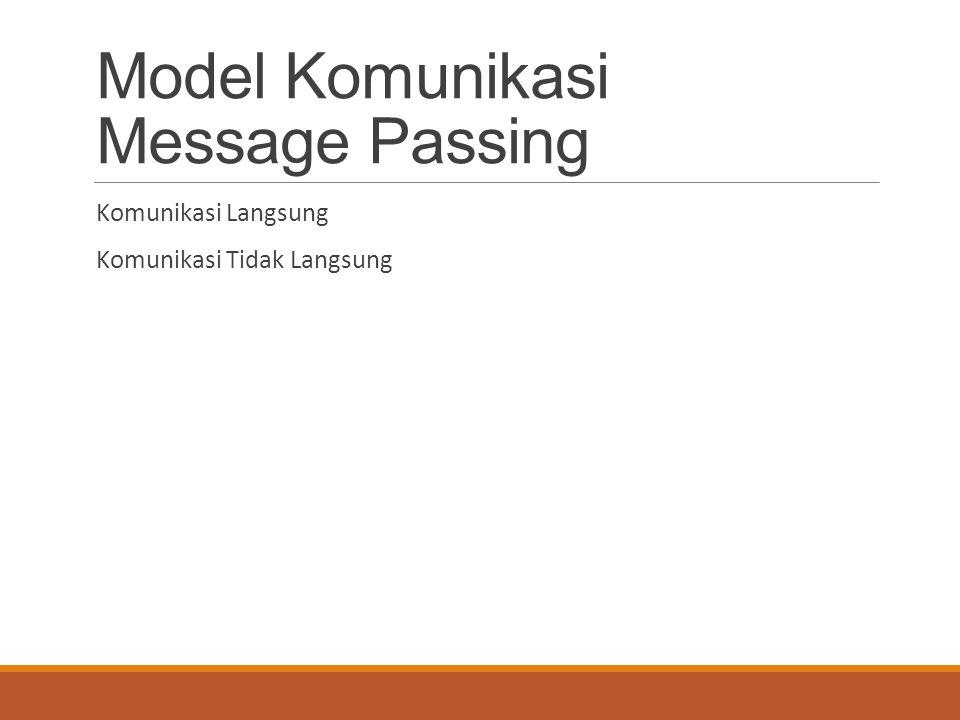 Model Komunikasi Message Passing Komunikasi Langsung Komunikasi Tidak Langsung