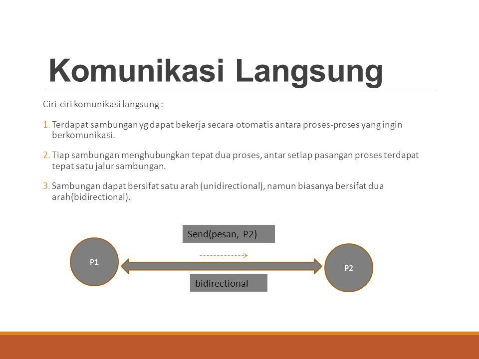 Komunikasi Tidak Langsung Ciri-ciri komunikasi tidak langsung : 1.Komunikasi antar dua proses dapat terjadi jika dua-duanya memiliki akses ke suatu mailbox yg sama.