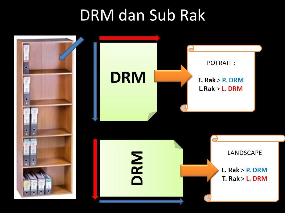 DRM dan Sub Rak DRM POTRAIT : T.Rak > P. DRM L.Rak > L.
