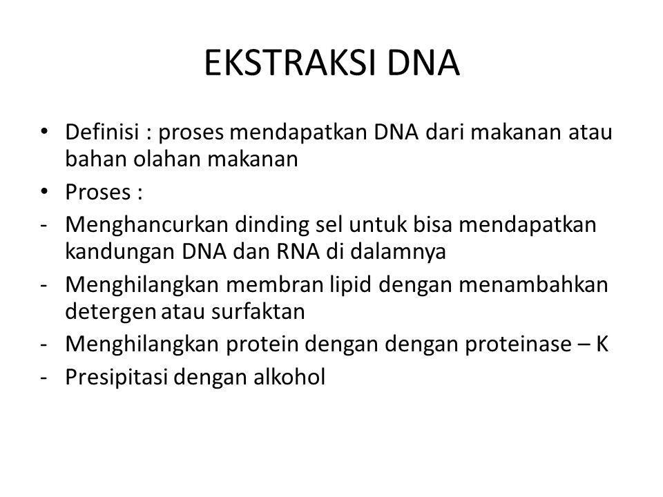 EKSTRAKSI DNA Definisi : proses mendapatkan DNA dari makanan atau bahan olahan makanan Proses : -Menghancurkan dinding sel untuk bisa mendapatkan kand