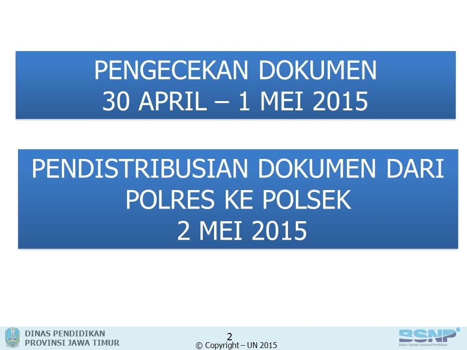 DINAS PENDIDIKAN PROVINSI JAWA TIMUR © Copyright – UN 2015 PENGECEKAN DOKUMEN 30 APRIL – 1 MEI 2015 PENGECEKAN DOKUMEN 30 APRIL – 1 MEI 2015 2 PENDISTRIBUSIAN DOKUMEN DARI POLRES KE POLSEK 2 MEI 2015 PENDISTRIBUSIAN DOKUMEN DARI POLRES KE POLSEK 2 MEI 2015