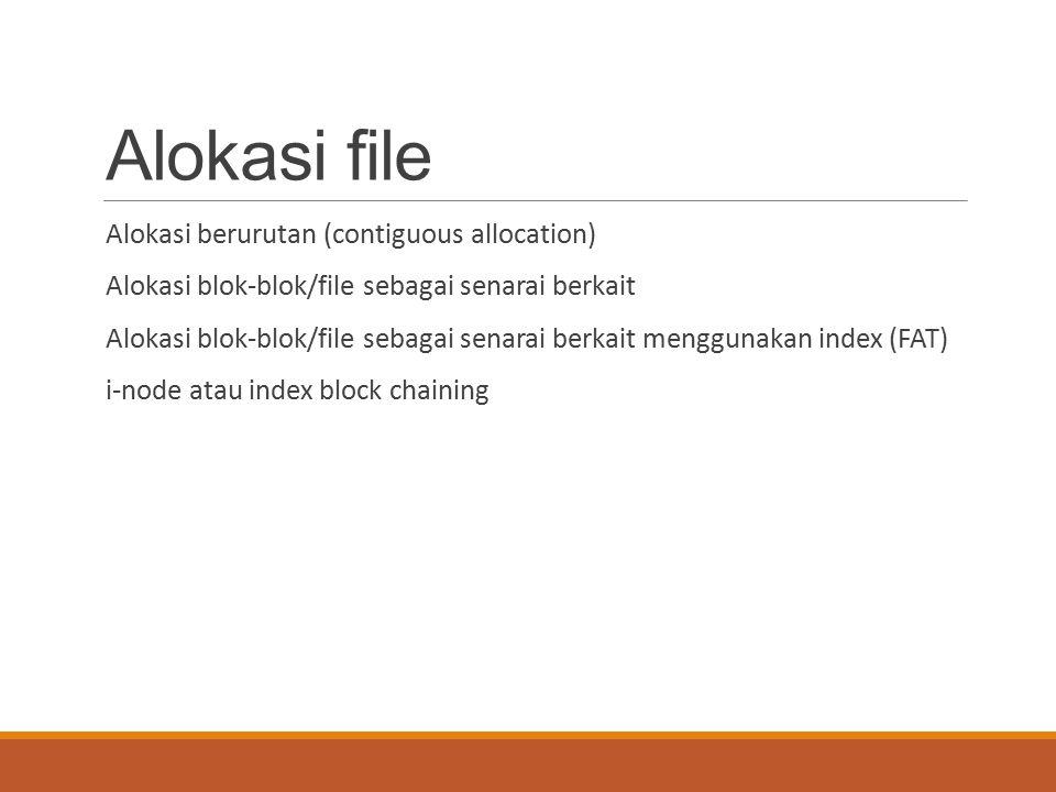 Alokasi file Alokasi berurutan (contiguous allocation) Alokasi blok-blok/file sebagai senarai berkait Alokasi blok-blok/file sebagai senarai berkait m