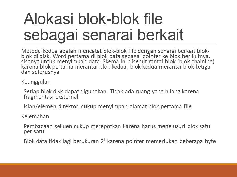 Alokasi blok-blok file sebagai senarai berkait Metode kedua adalah mencatat blok-blok file dengan senarai berkait blok- blok di disk. Word pertama di