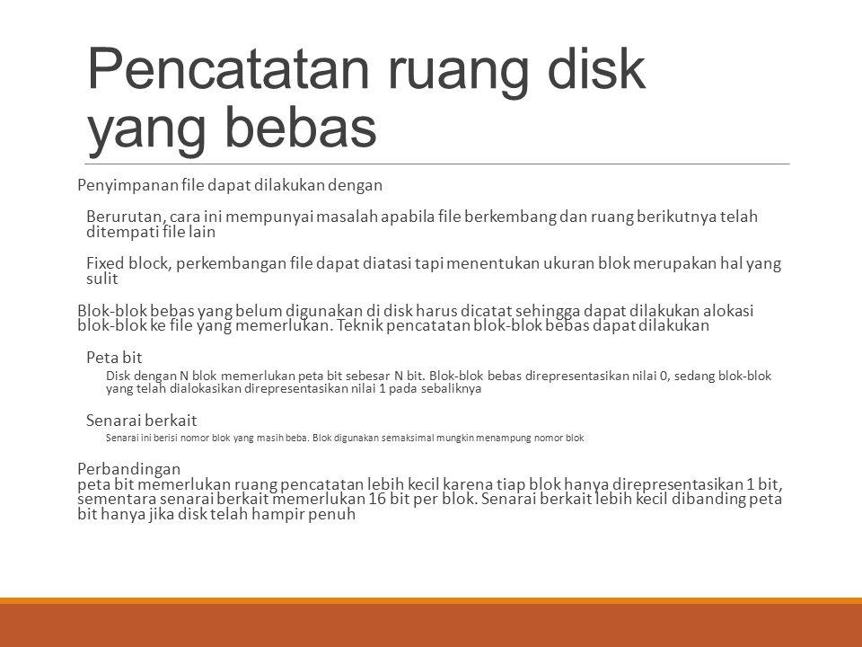 Pencatatan ruang disk yang bebas Penyimpanan file dapat dilakukan dengan Berurutan, cara ini mempunyai masalah apabila file berkembang dan ruang berik