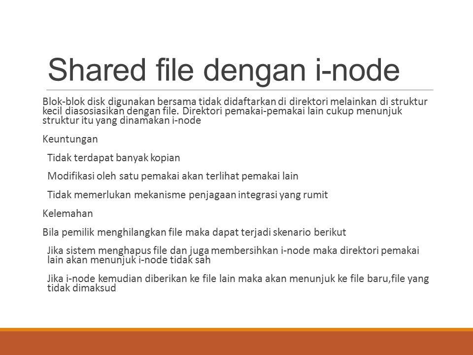 Shared file dengan i-node Blok-blok disk digunakan bersama tidak didaftarkan di direktori melainkan di struktur kecil diasosiasikan dengan file. Direk