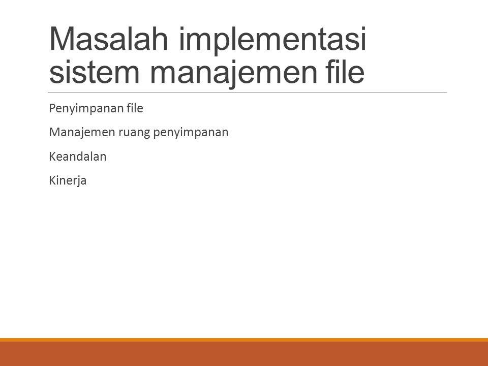Masalah implementasi sistem manajemen file Penyimpanan file Manajemen ruang penyimpanan Keandalan Kinerja