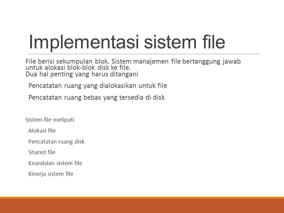 Implementasi sistem file File berisi sekumpulan blok. Sistem manajemen file bertanggung jawab untuk alokasi blok-blok disk ke file. Dua hal penting ya
