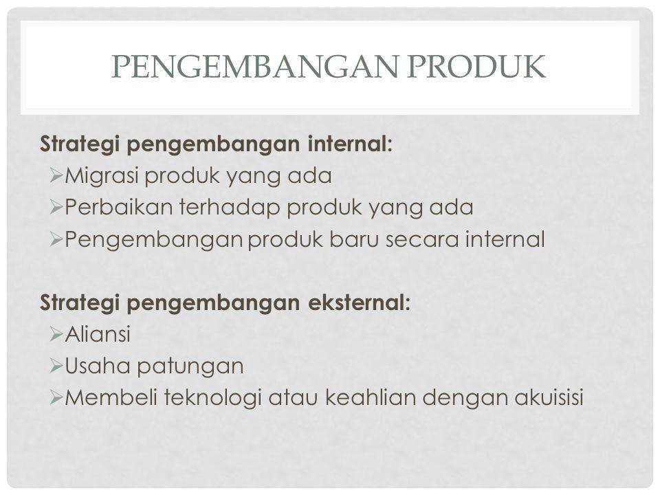 PENGEMBANGAN PRODUK Strategi pengembangan internal:  Migrasi produk yang ada  Perbaikan terhadap produk yang ada  Pengembangan produk baru secara i
