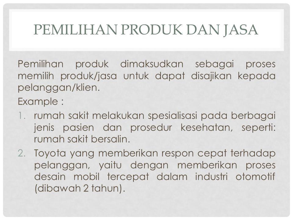 PEMILIHAN PRODUK DAN JASA Pemilihan produk dimaksudkan sebagai proses memilih produk/jasa untuk dapat disajikan kepada pelanggan/klien. Example : 1.ru