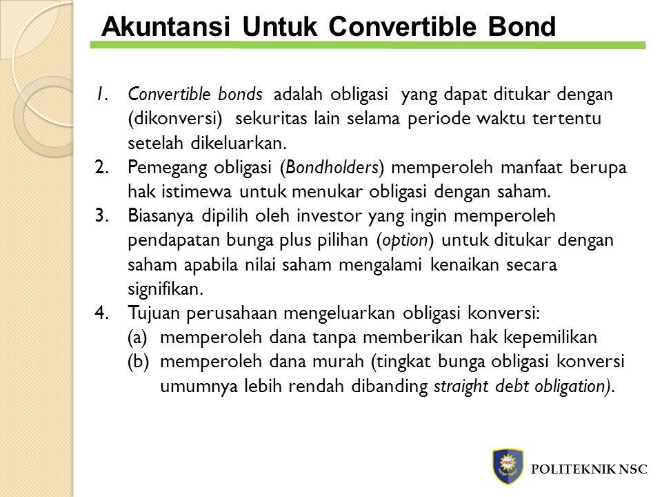 1.Convertible bonds adalah obligasi yang dapat ditukar dengan (dikonversi) sekuritas lain selama periode waktu tertentu setelah dikeluarkan. 2.Pemegan