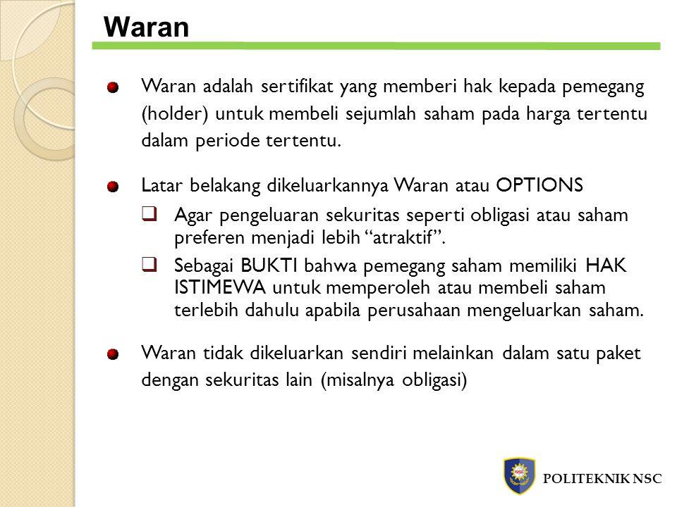 Waran adalah sertifikat yang memberi hak kepada pemegang (holder) untuk membeli sejumlah saham pada harga tertentu dalam periode tertentu. Latar belak