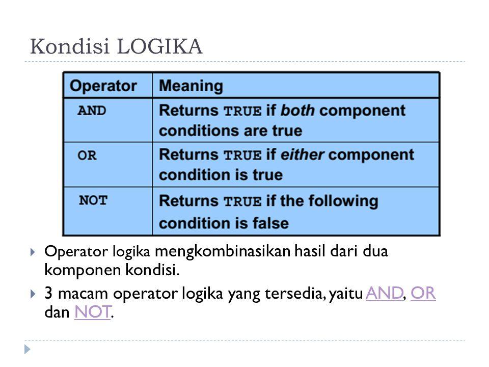 Kondisi LOGIKA  Operator logika mengkombinasikan hasil dari dua komponen kondisi.