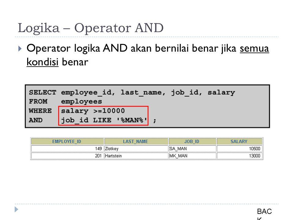 Logika – Operator AND  Operator logika AND akan bernilai benar jika semua kondisi benar BAC K
