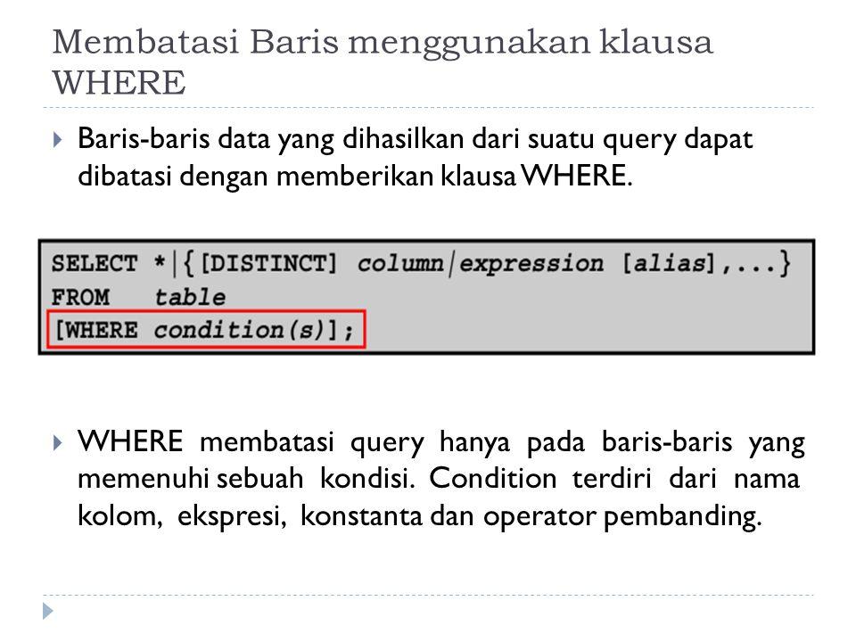 Membatasi Baris menggunakan klausa WHERE  Baris-baris data yang dihasilkan dari suatu query dapat dibatasi dengan memberikan klausa WHERE.