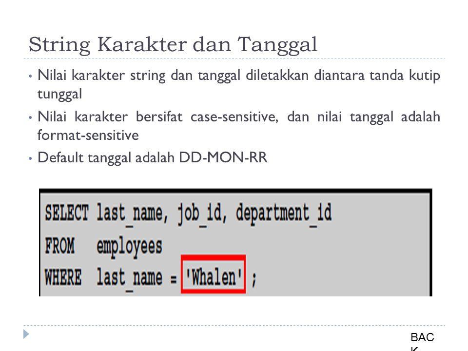 String Karakter dan Tanggal Nilai karakter string dan tanggal diletakkan diantara tanda kutip tunggal Nilai karakter bersifat case-sensitive, dan nilai tanggal adalah format-sensitive Default tanggal adalah DD-MON-RR BAC K