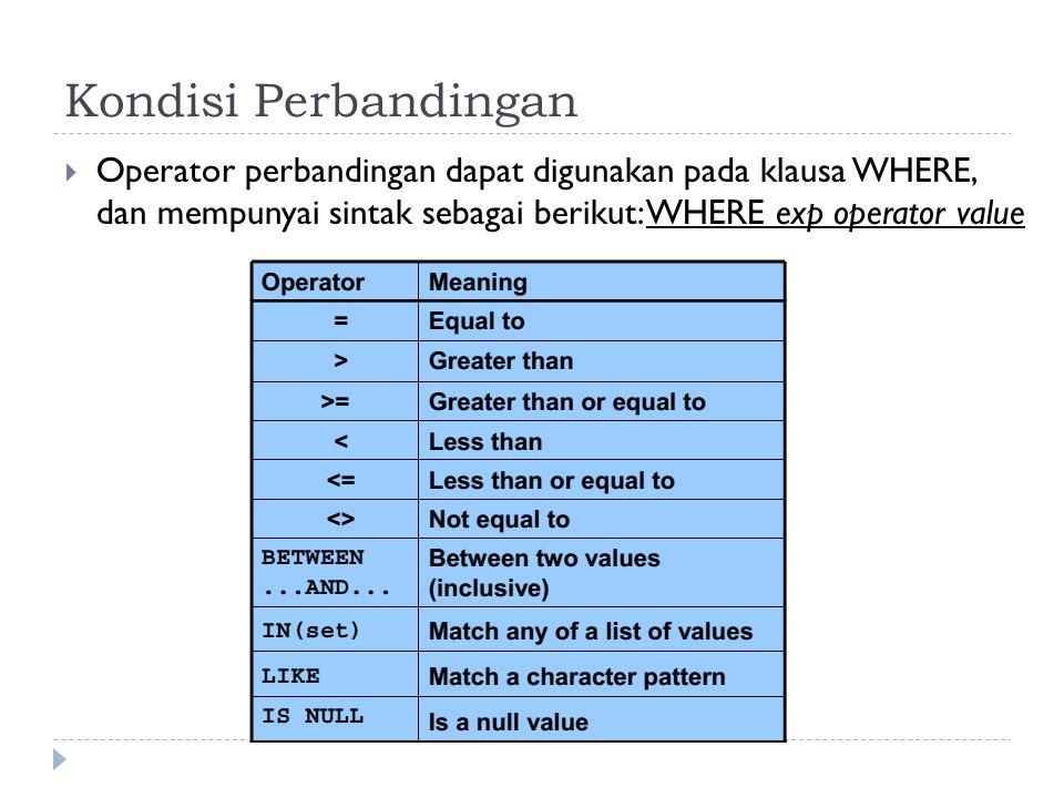 Kondisi Perbandingan  Operator perbandingan dapat digunakan pada klausa WHERE, dan mempunyai sintak sebagai berikut: WHERE exp operator value