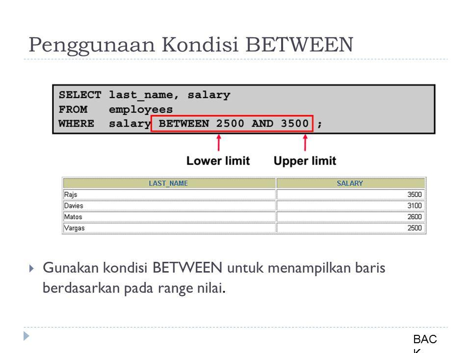 Penggunaan Kondisi BETWEEN  Gunakan kondisi BETWEEN untuk menampilkan baris berdasarkan pada range nilai.