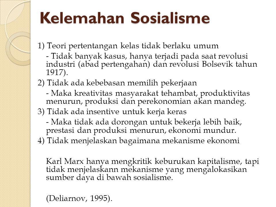 Kelemahan Sosialisme 1) Teori pertentangan kelas tidak berlaku umum - Tidak banyak kasus, hanya terjadi pada saat revolusi industri (abad pertengahan)