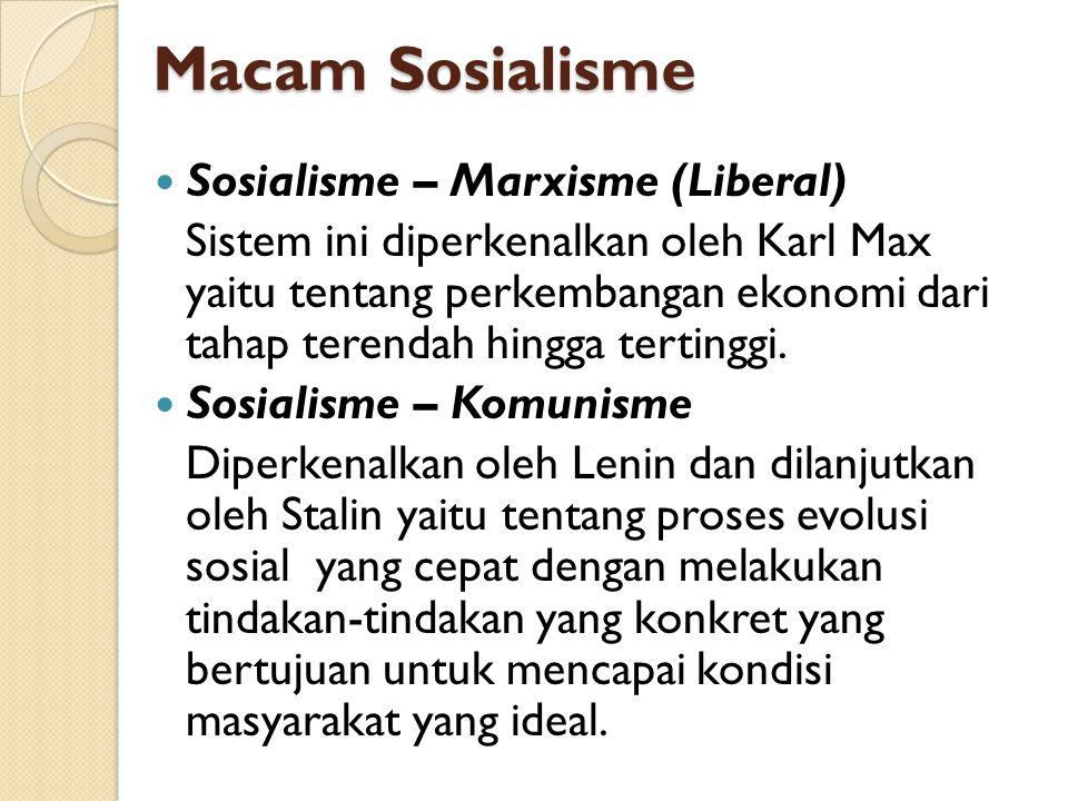 Sosialisme – Marxisme (Liberal) Sistem ini diperkenalkan oleh Karl Max yaitu tentang perkembangan ekonomi dari tahap terendah hingga tertinggi. Sosial