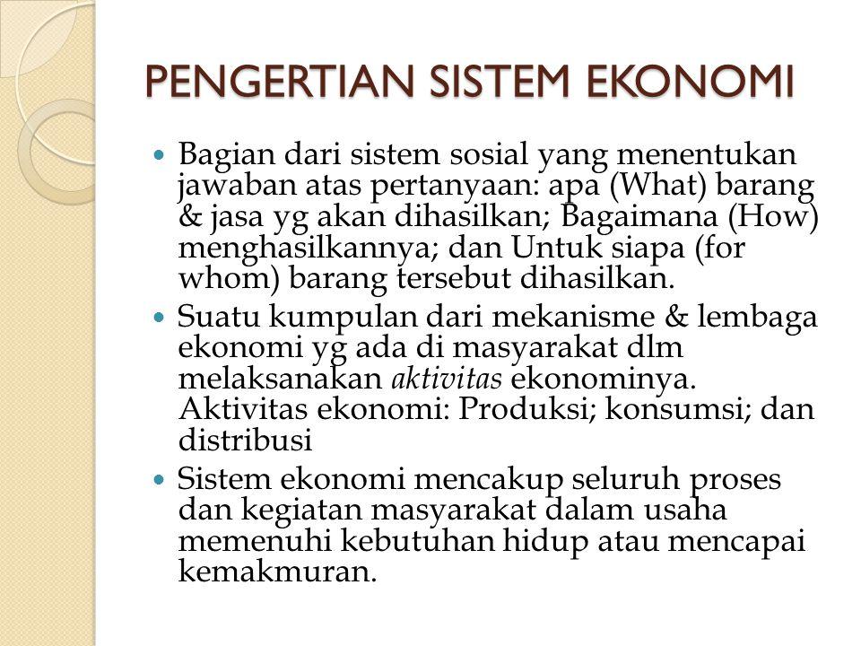 PENGERTIAN SISTEM EKONOMI Bagian dari sistem sosial yang menentukan jawaban atas pertanyaan: apa (What) barang & jasa yg akan dihasilkan; Bagaimana (H