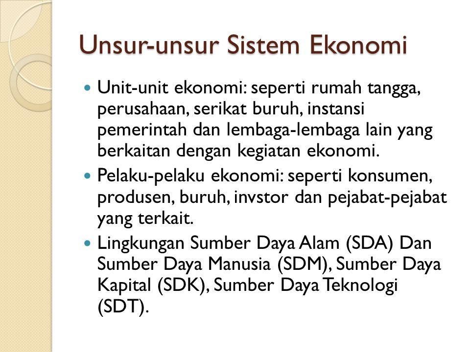 Unsur-unsur Sistem Ekonomi Unit-unit ekonomi: seperti rumah tangga, perusahaan, serikat buruh, instansi pemerintah dan lembaga-lembaga lain yang berka