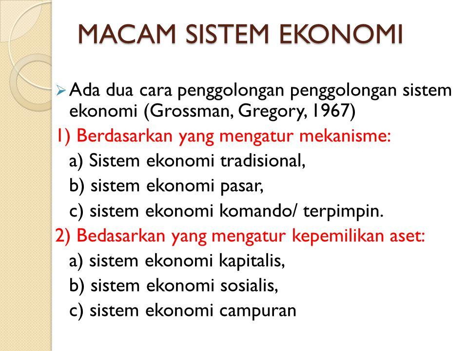 MACAM SISTEM EKONOMI  Ada dua cara penggolongan penggolongan sistem ekonomi (Grossman, Gregory, 1967) 1) Berdasarkan yang mengatur mekanisme: a) Sist