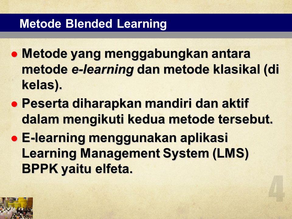 Metode Blended Learning Metode yang menggabungkan antara metode e-learning dan metode klasikal (di kelas). Metode yang menggabungkan antara metode e-l
