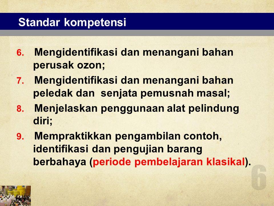 Mata diklat (e-learning) No Mata Diklat 1.Regulasi dan Pengawasan Barang Berbahaya 2.