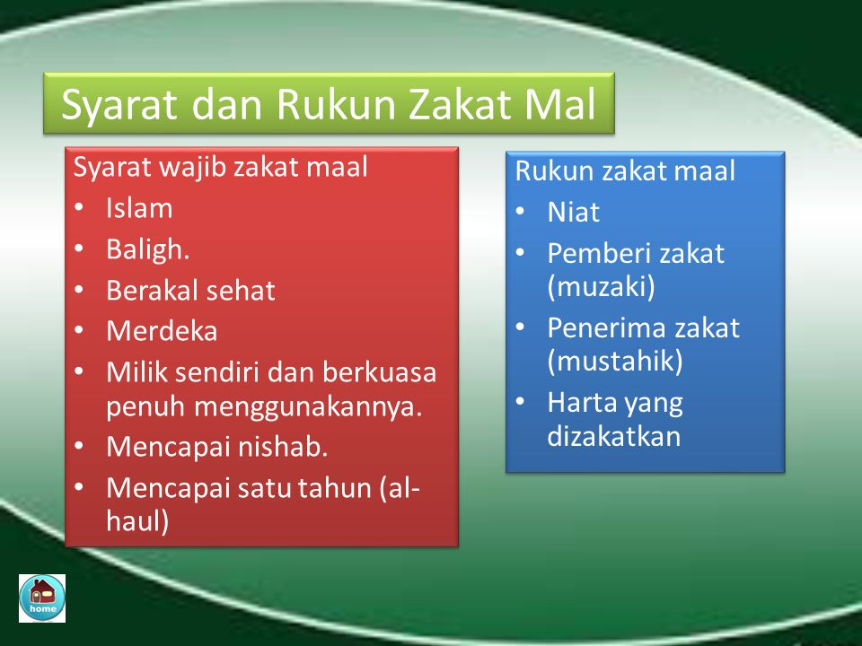 Zakat maal adalah mengeluarkan sebagian harta yang dimiliki seseorang karena sudah nishab (batasan jumlah harta) dan haul (batasan waktu memiliki harta) sesuai dengan ketentuan syariat Islam.
