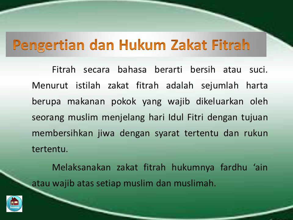 A.Zakat fitrah, yaitu zakat yang wajib dikeluarkan muslim menjelang Idul Fitri pada bulan Ramadlan.