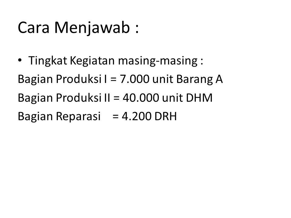 Cara Menjawab : BagianPerhitunganSatuan KegiatanTingkat Kegiatan Produksi IDari anggaran produksi Unit A7.000 Produksi IIBarang A : 7.000 X 4 DMH = 28.000 Barang B : 4.000 X 3 DMH = 12.000 DMH40.000 ReparasiBagian I : 7.000 X 0,20 = 1.400 Bagian II : 40.000 X 0,07 = 2.800 DRH4.200