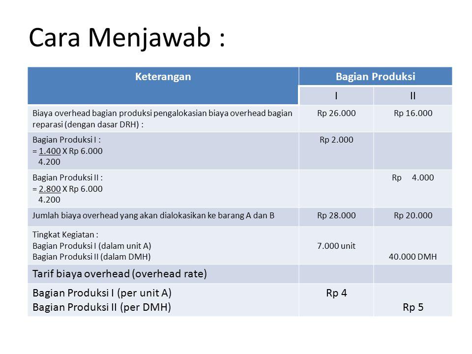 Cara Menjawab : Tingkat Kegiatan masing-masing : Bagian Produksi I = 7.000 unit Barang A Bagian Produksi II = 40.000 unit DHM Bagian Reparasi = 4.200 DRH