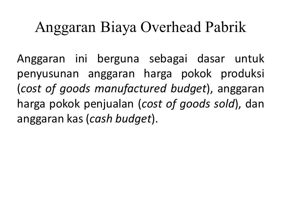 Anggaran Biaya Overhead Pabrik Manfaat anggaran ini adalah: 1.Mengetahui penggunaan biaya secara lebih efisien.