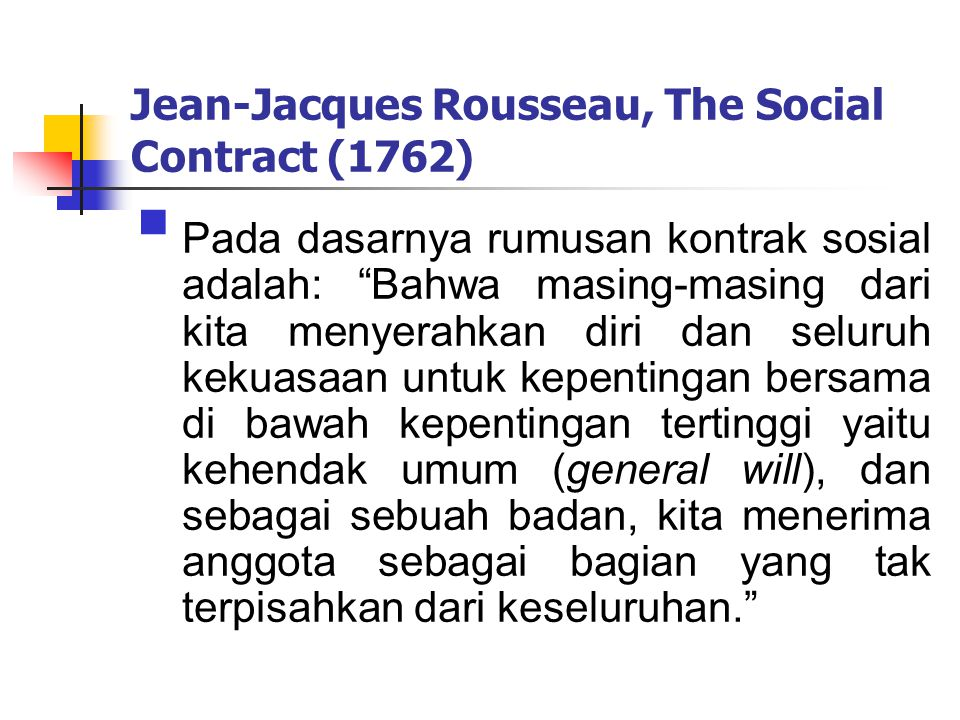 a description of rousseaus on the social contract