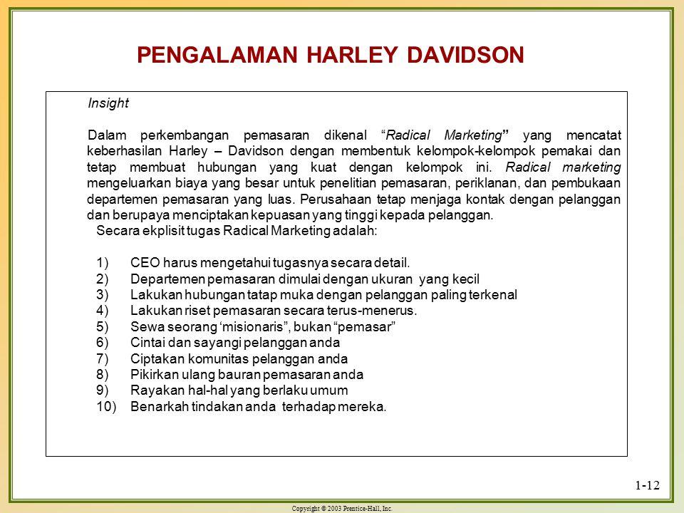 "Copyright © 2003 Prentice-Hall, Inc. 1-12 PENGALAMAN HARLEY DAVIDSON Insight Dalam perkembangan pemasaran dikenal ""Radical Marketing"" yang mencatat ke"