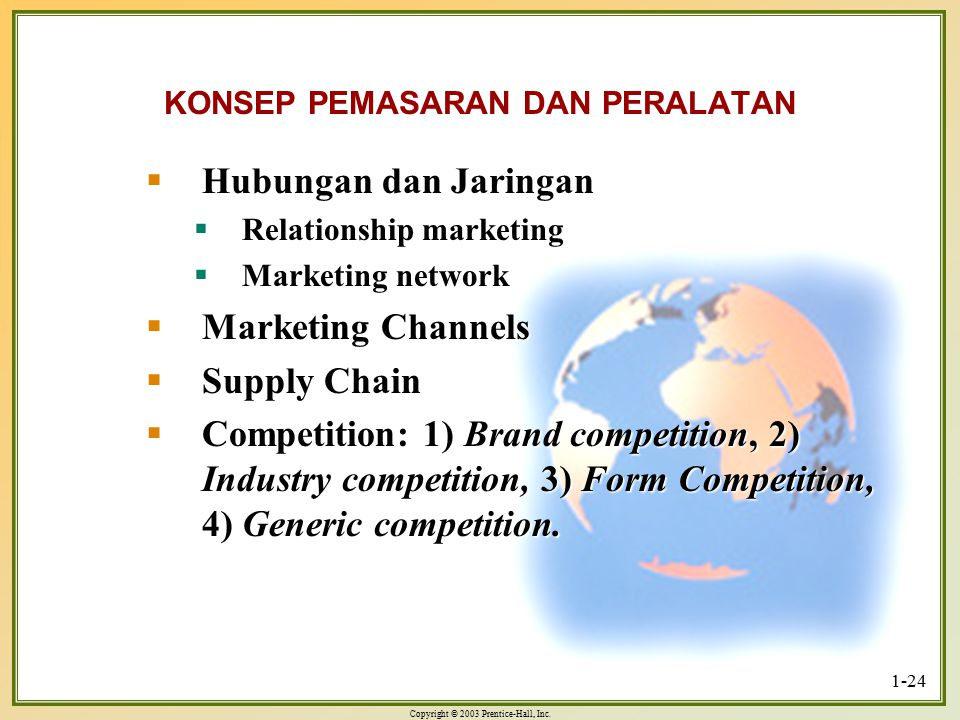 Copyright © 2003 Prentice-Hall, Inc. 1-24 KONSEP PEMASARAN DAN PERALATAN  Hubungan dan Jaringan  Relationship marketing  Marketing network  Market