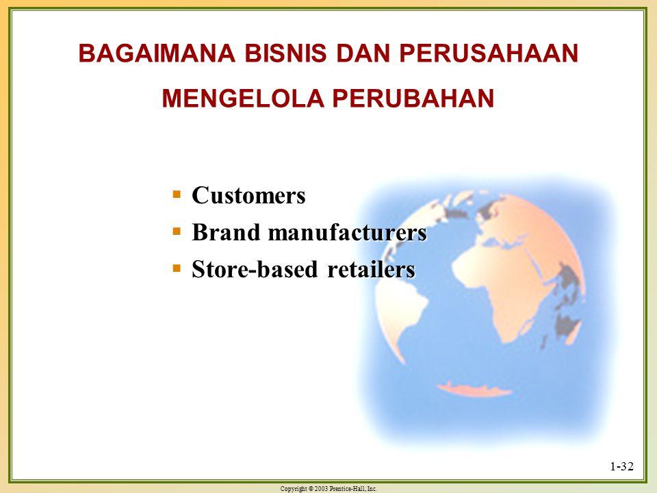 Copyright © 2003 Prentice-Hall, Inc. 1-32 BAGAIMANA BISNIS DAN PERUSAHAAN MENGELOLA PERUBAHAN  Customers  Brand manufacturers  Store-based retailer