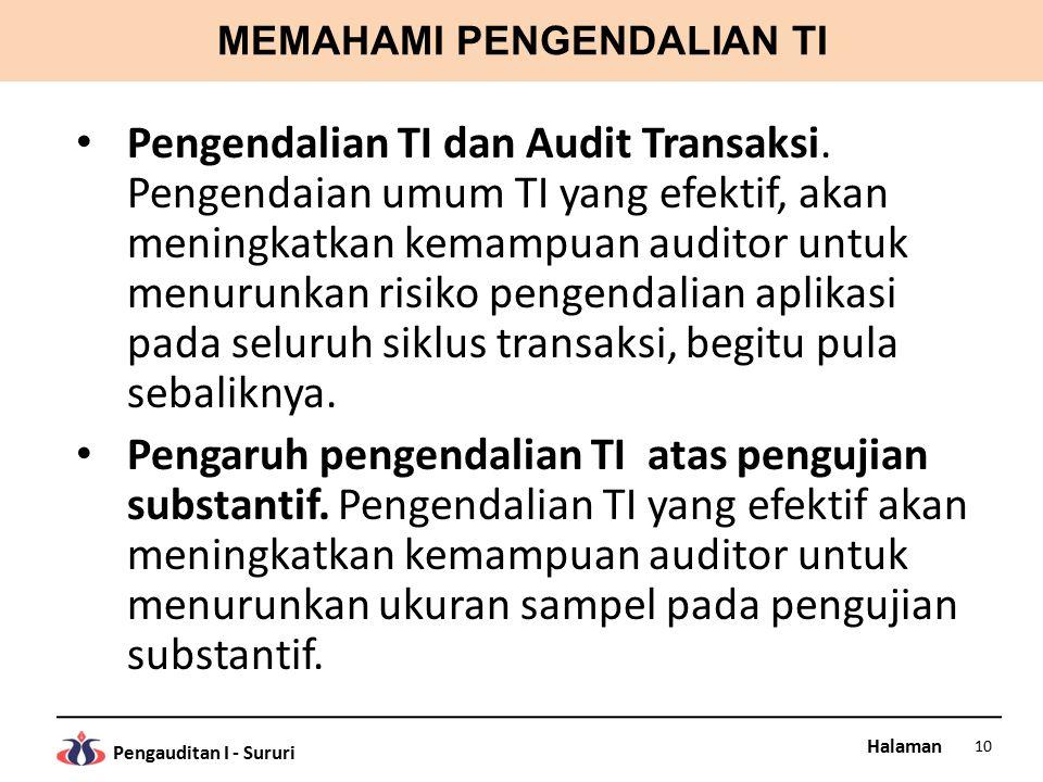 Halaman Pengauditan I - Sururi MEMAHAMI PENGENDALIAN TI Pengendalian TI dan Audit Transaksi.