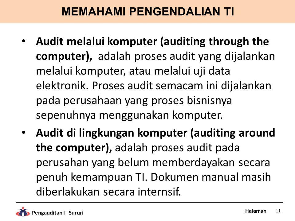 Halaman Pengauditan I - Sururi MEMAHAMI PENGENDALIAN TI Audit melalui komputer (auditing through the computer), adalah proses audit yang dijalankan melalui komputer, atau melalui uji data elektronik.