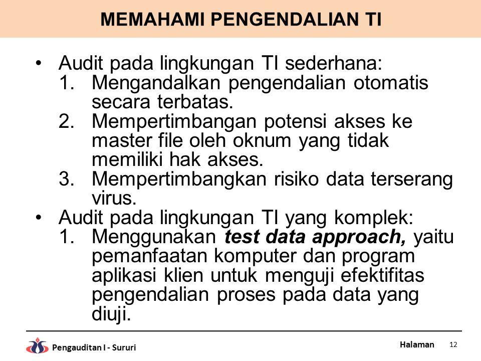 Halaman Pengauditan I - Sururi MEMAHAMI PENGENDALIAN TI Audit pada lingkungan TI sederhana: 1.Mengandalkan pengendalian otomatis secara terbatas.
