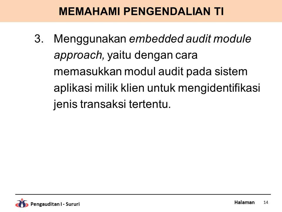 Halaman Pengauditan I - Sururi MEMAHAMI PENGENDALIAN TI 3.Menggunakan embedded audit module approach, yaitu dengan cara memasukkan modul audit pada sistem aplikasi milik klien untuk mengidentifikasi jenis transaksi tertentu.