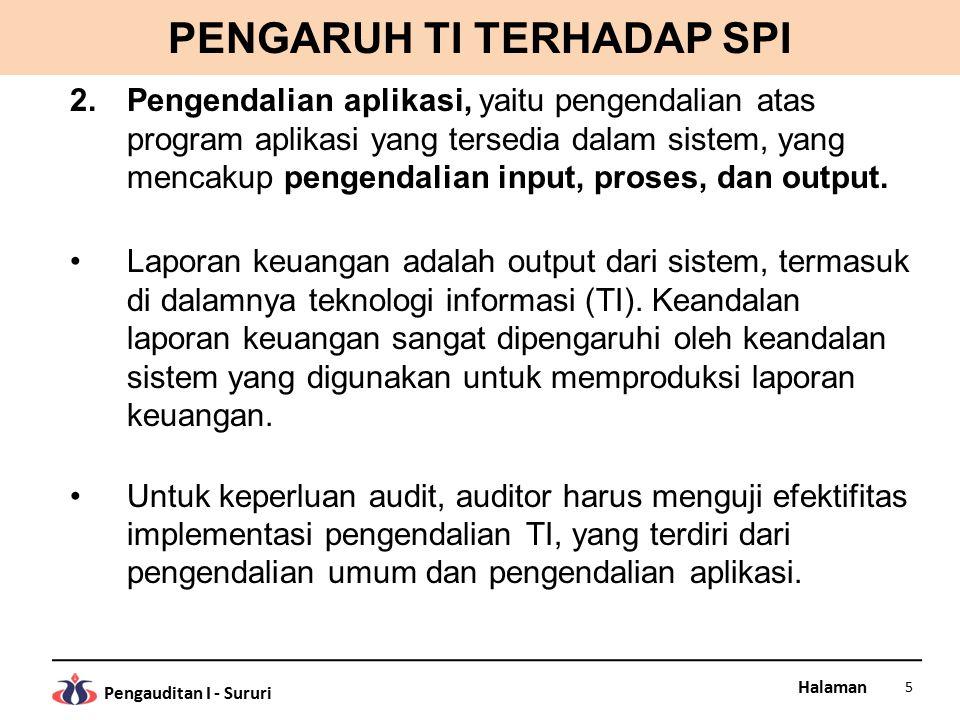 Halaman Pengauditan I - Sururi PENGARUH TI TERHADAP SPI 2.Pengendalian aplikasi, yaitu pengendalian atas program aplikasi yang tersedia dalam sistem, yang mencakup pengendalian input, proses, dan output.
