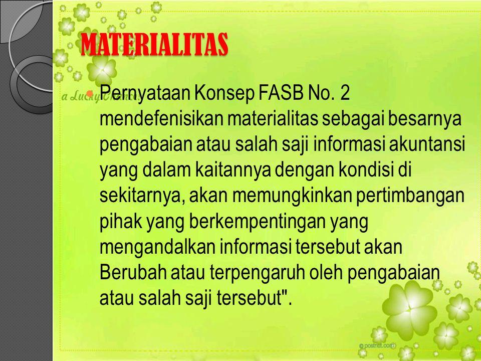 MATERIALITAS Pernyataan Konsep FASB No. 2 mendefenisikan materialitas sebagai besarnya pengabaian atau salah saji informasi akuntansi yang dalam kaita