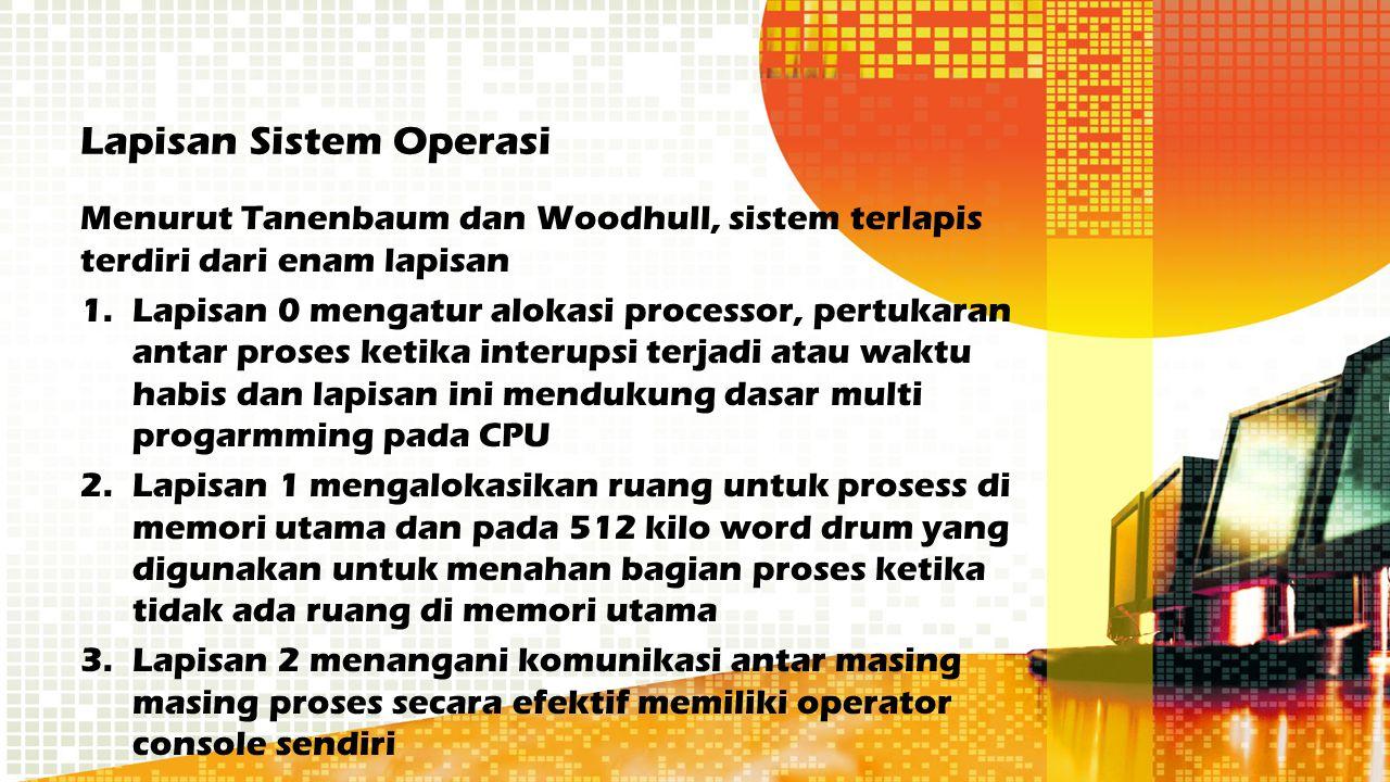 Menurut Tanenbaum dan Woodhull, sistem terlapis terdiri dari enam lapisan 1.Lapisan 0 mengatur alokasi processor, pertukaran antar proses ketika inter