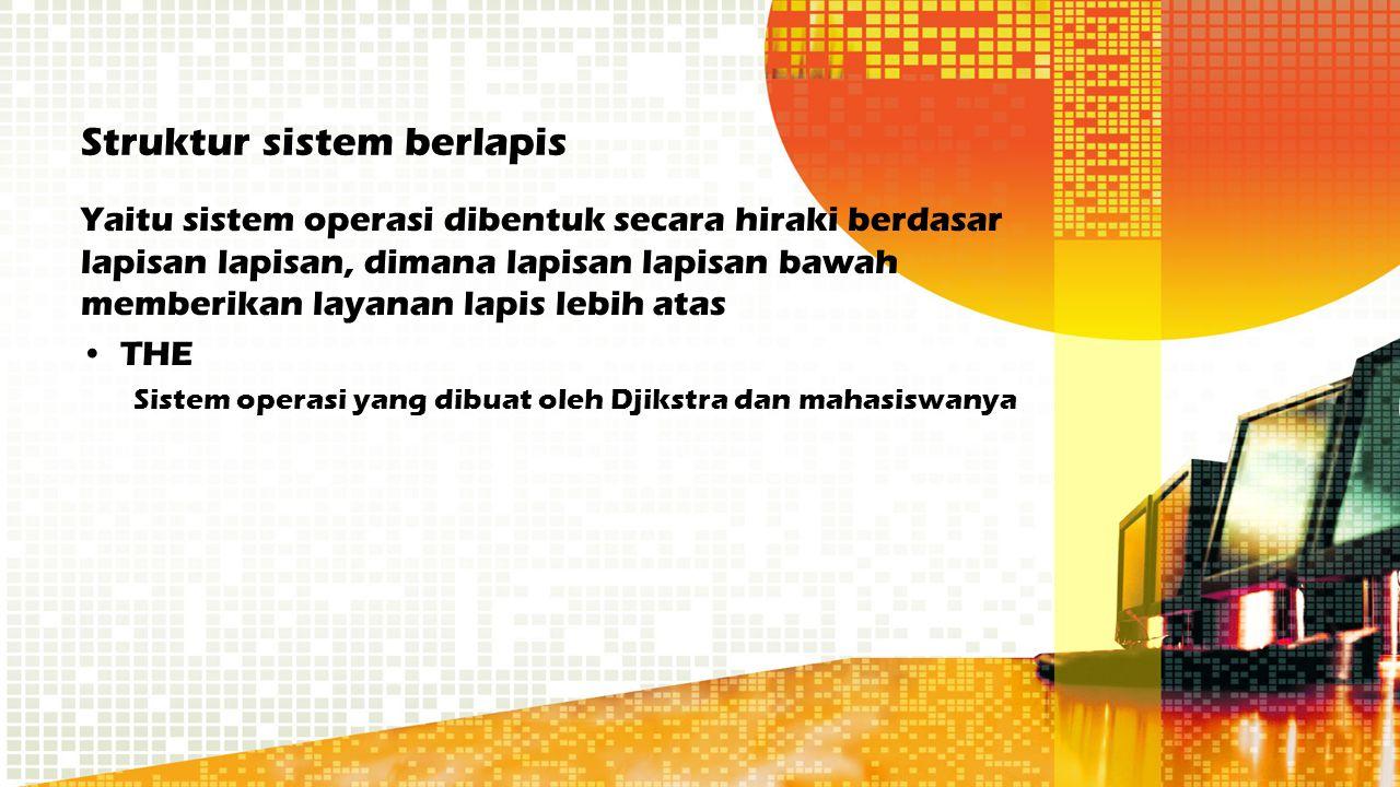 Struktur sistem berlapis Yaitu sistem operasi dibentuk secara hiraki berdasar lapisan lapisan, dimana lapisan lapisan bawah memberikan layanan lapis l